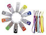 Thumb Drive 4GB - FEBNISCTE 10 Pack USB Flash Drives Swivel Multi-Coloured 4GB USB Memory Stick - 10 Color Assorted