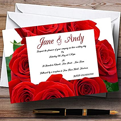red rose love letter personalized wedding invitations