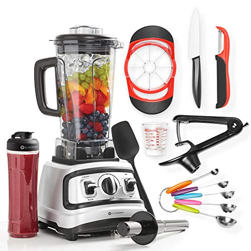 10 Pc All-In-One High Speed Blender Set, Industrial Strength (Incl: Tamper, Spatula, To-Go Cup, Ceramic Knife, Cherry Pitter, Apple Slicer, Measuring Cup & Spoon Set, Swivel Peeler),1500W, 2.0 HP