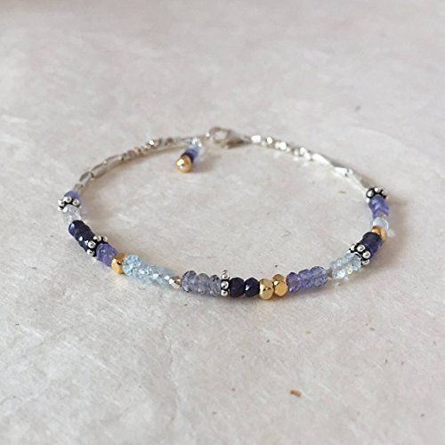 - JP_Beads Tanzanite Blue Sapphire Iolite Aquamarine Sky Blue Topaz Karen Hill Tribe Thai Silver and Gold Vermeil Beaded Bracelet, Sundance Style 3-4mm