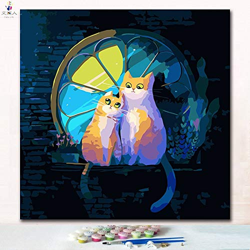 50x50 with frame 2106 two cats3 KYKDY Animal Cats in a Cup Digital Oil Painting coloring Numbers Pictures by Numbers with colors and Brush for Kids Learning Paint,7265 cat13,50x50 no Frame