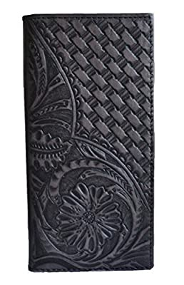 men genuine leather floral woven western tall long bifold brown tan black wallet