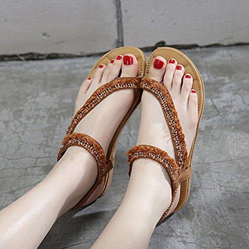 Talón Zapatos Light Soles uk7 Walking Mujeres Para Casual De Plano cn41 Haizhen Aire Sandalias 1002 Eu40 1001 Mujer Libre Summer Al color Zapatillas Tamaño 7Cq5p