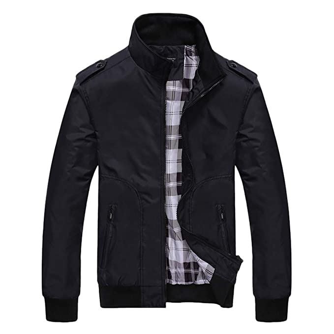 Mens Autumn Winter Plaid Liner Casual Long Sleeve Solid Zipper Jacket at Amazon Mens Clothing store: