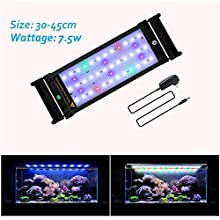JOYHILL LED Full Spectrum Aquarium Lights,Fish Tank Light with Extendable Brackets,Suitable for Aquatic Reef Coral Plants and Fish Keeping 7.5W (Fit 30cm-50cm/12-20 inch)