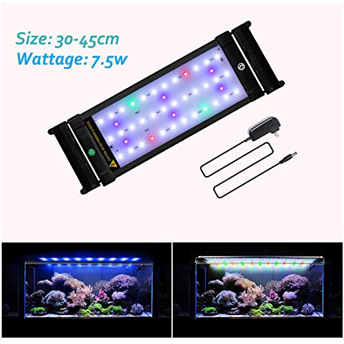 JOYHILL LED Aquarium Lights,Fish Tank Light with Extendable Brackets,Suitable for Aquatic Reef Coral Plants and Fish…