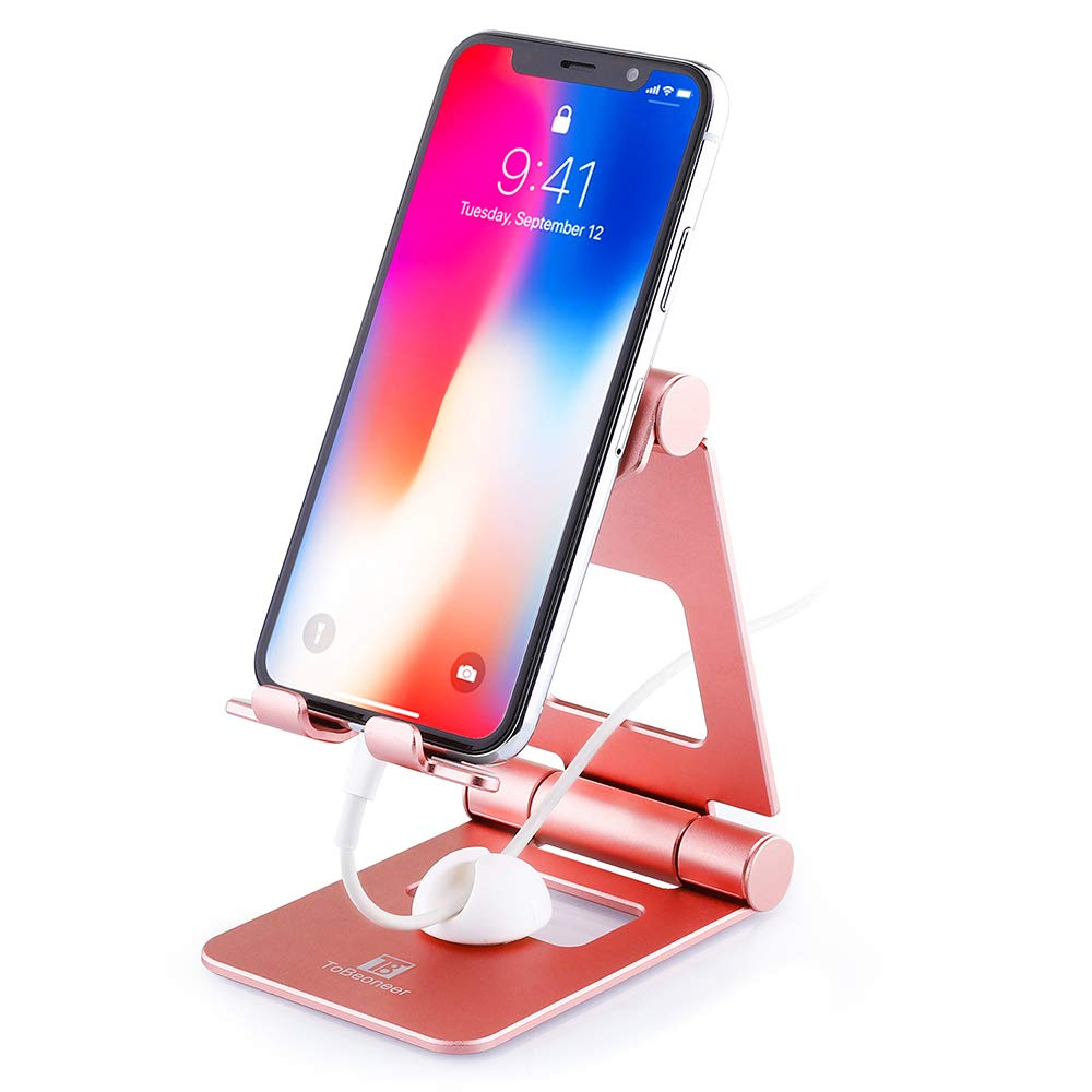 Adjustable Cell Phone Stand, ToBeoneer T8 Desk Phone Holder [Upgraded Solid] Phone Dock Thicker 3 in Wider 4.92 in Taller Aluminum Stand for Mobile Phone Tablet (Up to 10 inch), Rose Gold