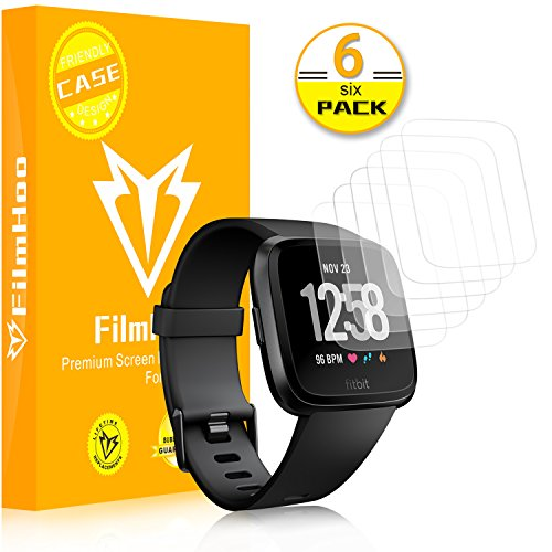 [6-Pack]Fitbit Versa Screen Protector (Not Glass), FilmHoo LiQuidSkin Full Coverage Screen Protector for Fitbit Versa Smartwatch (Case Friendly) HD Clear Anti-Bubble Film