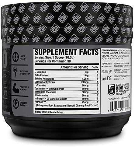 NITROSURGE Black Pre Workout Supplement – Nootropic Energy Booster Powder w Dynamine TeaCrine – PreWorkout Nitric Oxide Booster – 30 Servings, Lemon Lime