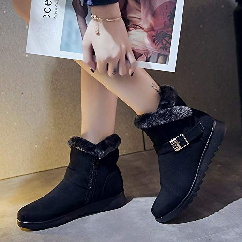 Black Tube Boots Velvet Winter FALAIDUO Retro Women Boots Snow Short Solid Fashion Zipper Ladies Warm Plus Color Martin dSTztwnzYq