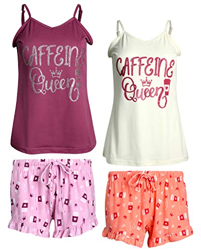 dELiA*s Women 4-Piece Yummy Pajama Sleepwear Short Set (2 Full Sets), Caffeine Queen, Size X-Large' ()