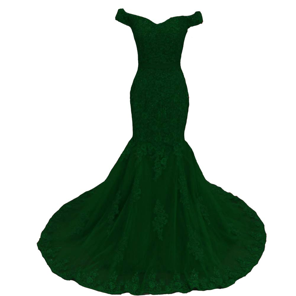 Emerald Green Lemai Off The Shoulder Mermaid Beaded Lace Appliques Long Evening Prom Dresses