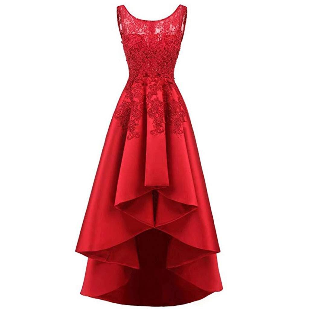 【数量は多】 エレガントなレースのバックロングショート女性のイブニングドレスの花嫁介添人ドレスラウンドネックノースリーブ8色 B07QM169MT B07QM169MT US:14|ワインレッド ワインレッド US:14, EZAKI NET GOLF:c50f280b --- a0267596.xsph.ru