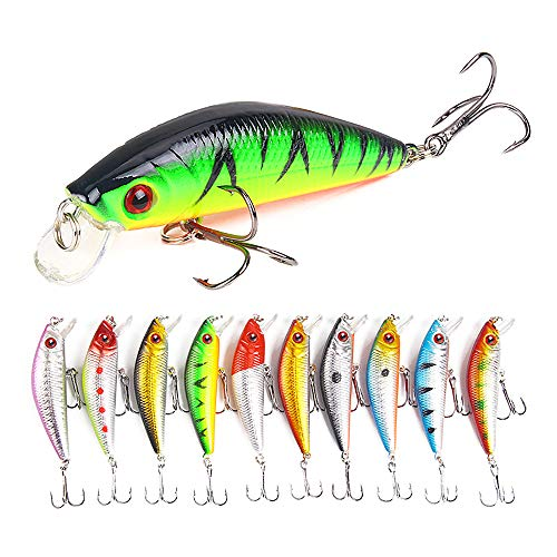 Floating L-trap Rat (Sunnysport Fishing Lures, Crankbait Kit Mixed, Carp Pike Whopper Plopper Floating Rotating Tail Topwater- Minnow Spinner Blade Baits Jigging Swimbait for Trout Salmon Bass CRA(10/7/5 pcs) (10pcs))