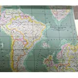 Amazon world map linen fabric by the yard 1 yard linen world map fabric print by the yard 1 yard gumiabroncs Gallery
