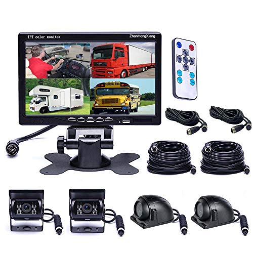 - Vehicle Backup Cameras Monitor kit 4 Pin System 12V/24V,4 x Front Side Rear View Camera + 7