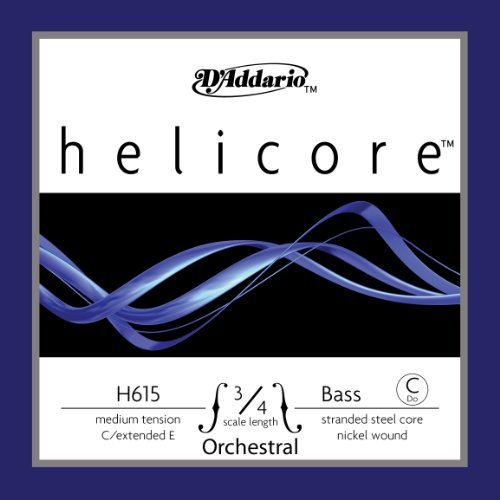 D'Addario Helicore Orchestral Bass Single C (Extended E) String, 3/4 Scale, Medium Tension by D'Addario