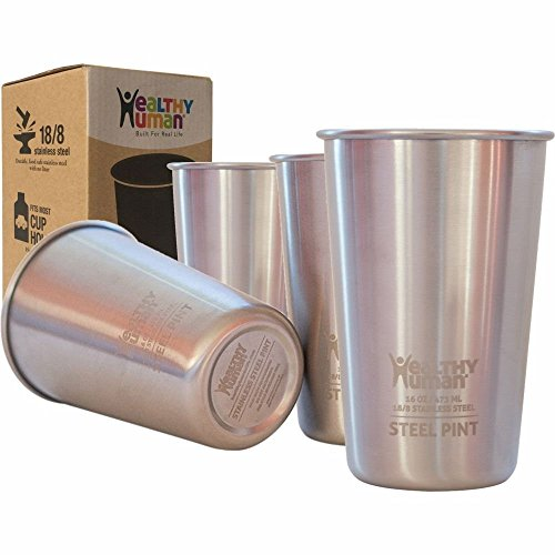 Healthy Human 4 Pack 16oz/475ml Stainless Steel Cups - Ideal Beer Pints, Iced Tea Tumblers, Wine & Water Mugs, Camping Cup - Bar Set. - Classic - Steel Ss Stainless Soap
