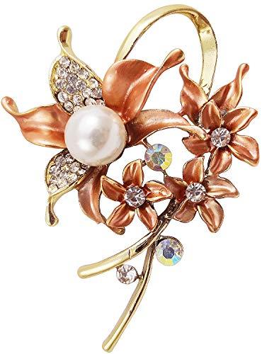 Bijoux De Ja Gold Tone Enamel Rhinestone Faux Pearl Wild Orchid Design Brooch Pin (Orange)