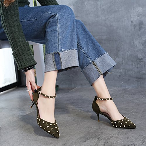Stiletto High Sexy Green Women Hoxekle Heels New Shoes Fashion Element Spring Pumps OqZCx