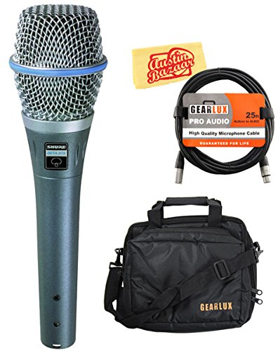 Shure Beta 87A Supercardioid Condenser Vocal Microphone Bundle with Gear Bag, XLR Cable, and Austin Bazaar Polishing Cloth by Shure