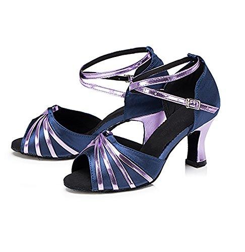 WYMNAME Mujeres Zapatos De Baile Latino,Fondo Blando Tacones Mediados Lado Brillante Zapatos De Baile Social Sandalias De Interior Púrpura
