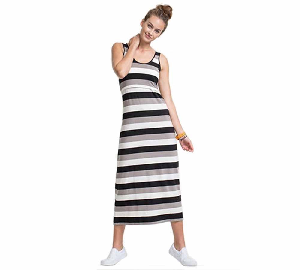 Boob Cameron Maternity Nursing Tank Dress - Black Stripe - X-Small