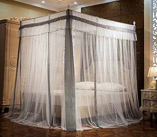 JQWUPUP Elegant Canopy Bed Curtains, Ruffle Princess 4 Corner Post Mosquito Net, Bed Canopy for Girls Kids Adult, Bedding Décor (Queen, Grey)
