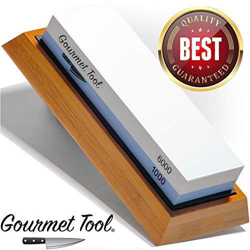 Whetstone Knife Sharpener by Gourmet Tool - Knife Sharpening Stone - Waterstone 1000-6000 Grit with Non-Slip Bamboo Base Flattening Stone and Angle Guide - Best Wet Stone Kitchen Knives Sharpening Kit