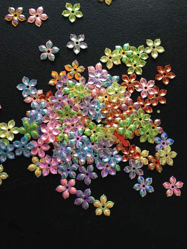 (Pack of 100pcs Flower Sequins Sewing Scrapbooking Crafts Embellishments Card Making Plastic Beads Applique Wedding Appliques Floral Small Shiny and Sparkly Holographic 9mm)