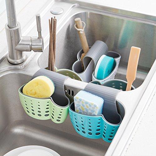 Samy Best 2 Sided Kitchen Sink Hanging Strainer Storage Holder Bag Sponge Towel Draining Rack Cleaning Brush Toothbrush Holder by Samy Best