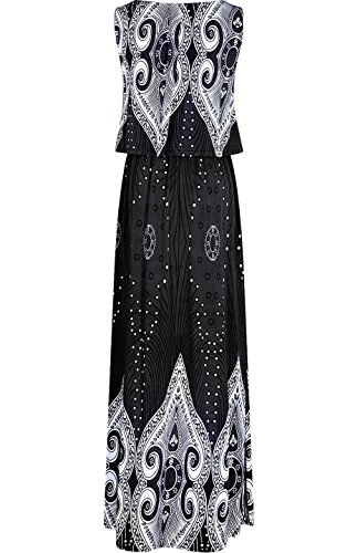 Rhombus Dress Women's Floral Resort Maxi Peacock Beach 2LUV Holiday Black Summer 8zqx7