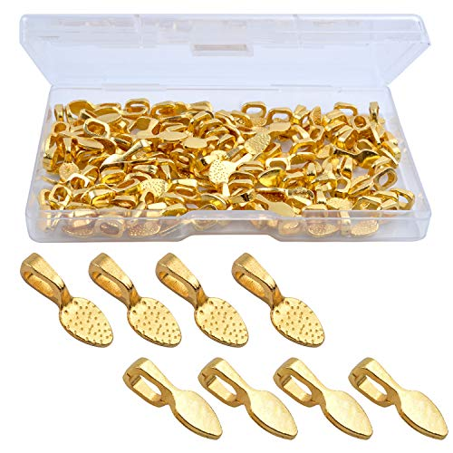 (Hendevl 120 Pcs Oval Spoon Scrabble Glue On Flat Rocks Earring Pad Bails for Fitting Glass Cabochon Tiles Necklaces Pendants with 1Pcs Box,Gold)