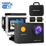 APEMAN Action Camera WiFi 14MP 1080P FHD Sports Camera with 2.0 Inch LCD Display & 170°Ultra Wide-Angle Lens - 2 Rechargeable 1050mAh Batteries & Portable Package Including Full Accessories Kits