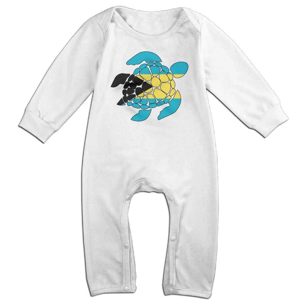 UGFGF-S3 Bahamas Flag Sea Turtle Long Sleeve Infant Baby Unisex Baby Bodysuit for 6-24 Months Bodysuit