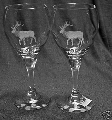 Muddy Creek Wine - Muddy Creek Reflection Bull Elk Laser Etched Wine Glass Set (2, TDW)
