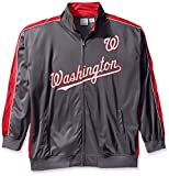 MLB Washington Nationals Men's Team Reflective Tricot Track Jacket, 2X/Tall, Charcoal/Red