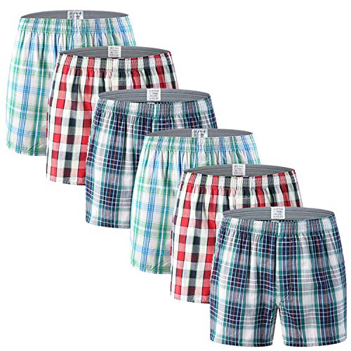 AjezMax Men's Cotton Classic Woven Boxer Shorts Plaid Underwear Button Fly with Inside Exposed Waistband 6 Pack, L