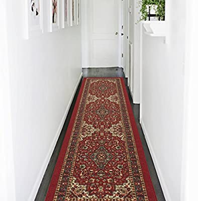 Ottohome Collection Persian Heriz Oriental Design Red Runner Rug