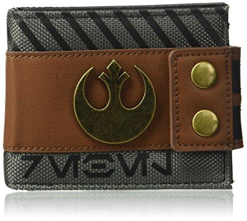 Bioworld Men's Star Wars Rogue One Rebel Snap Bi-fold Wallet, gray, One Size