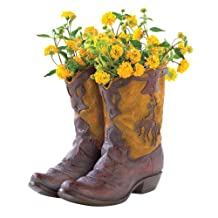 Koehler Home Tabletop Decorative Gift Accent Cowboy Boot Planter Polyresin