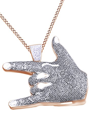 Simulated Yellow & White Cubic Zirconia I Love You Hand Sign Language Hip Hop Pendant in 14k Rose Gold Over Sterling Silver (12.46 Cttw) by AFFY