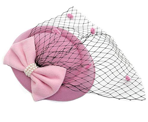 Women's Fascinators Hat Pillbox Hat Cocktail Party Hat with Dot Veil Bowknot Hair Clip (Z ()