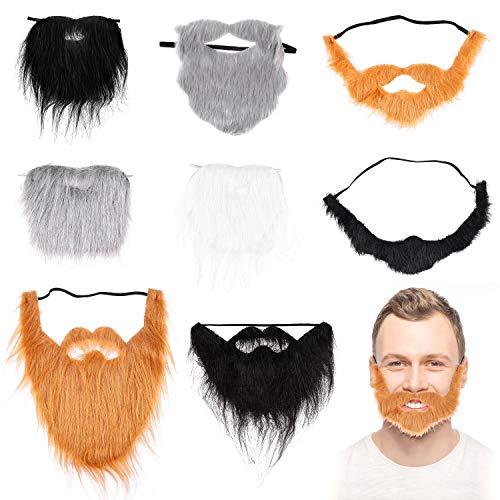 Beards And Mustaches Costumes - BeYumi 8 Pcs Halloween Fake Beards
