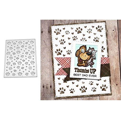 StaunchWea Cutting Dies,Dog Paw Footprint Dies Cut, Metal Stencil for Scrapbooking, Album Embossing, Greeting Card, Birthdays Card DIY Making Silver]()