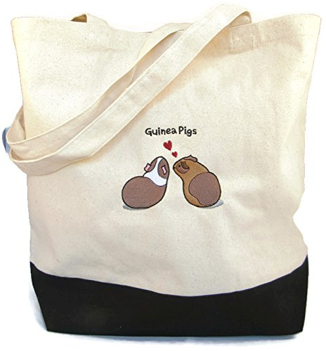 Wheeky Pets Guinea Pig, Embroidered Natural Cotton Canvas Eco-Tote Reusable Shopping Bag, Size Large, Black and White