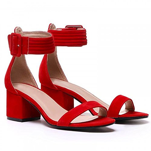Shoe Closet Ladies Red Low Heeled Ankle Strap Peep Toes Strappy Sandals Heels fgWxxjnk3