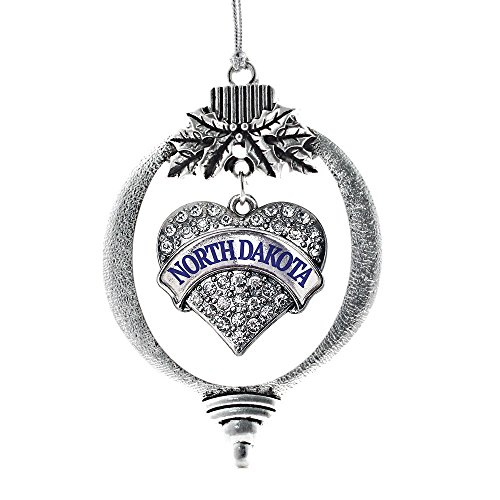 Dakota Crystal - Inspired Silver North Dakota Pave Heart Holiday Christmas Tree Ornament With Crystal Rhinestones