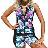 85b2fbcb6cbec Sttech1 Women Floral Zip Front Tankini Swimsuit with Swim Shorts Sleeveless  Rash Guard Surfing Swimwear Two