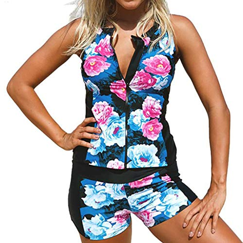 Sttech1 Women Floral Zip Front Tankini Swimsuit with Swim Shorts Sleeveless Rash Guard Surfing Swimwear Two Piece Set Blue ()